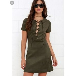 Lulu's Olive Green Suede Lace-Up Dress size Small